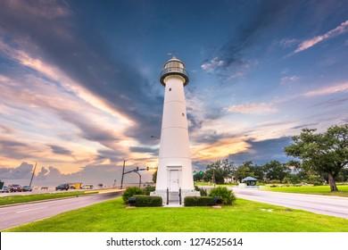 Biloxi, Mississippi USA at Biloxi Lighthouse at dusk.