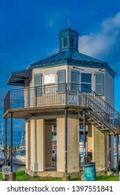 biloxi Mississippi, USA, May/13/2019. harbor master office at biloxi harbor
