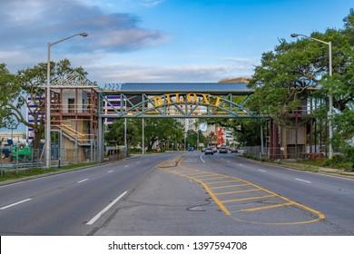 Biloxi Mississippi, USA, May/13/2019. new overhead crosswalk being built on beach boulevard