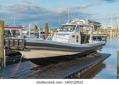 biloxi Mississippi, USA, May/13/2019. Mississippi Police boat on floating dock in Biloxi Harbor.