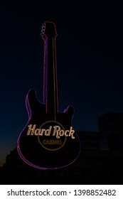 Biloxi Mississippi, USA, May/15/2019. Early morning photograph of the hard rock casino guitar.