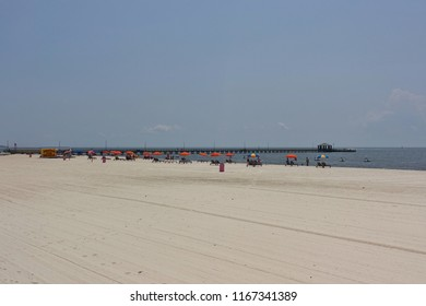 BILOXI, MS -24 AUG 2018- View of the landmark Biloxi beach on the Mississippi Sound off the Gulf of Mexico in Harrison County, Mississippi.  It was the site of the Civil Rights Biloxi wade-ins.