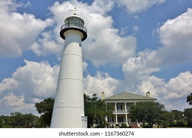 BILOXI, MS -24 AUG 2018- View of the landmark Biloxi Light lighthouse on the Mississippi Sound off the Gulf of Mexico in Harrison County, Mississippi.