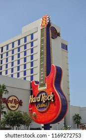 BILOXI, MS -24 AUG 2018- View of the landmark Hard Rock Cafe restaurant and hotel with its guitar logo on Beach Boulevard in Biloxi, Mississippi.