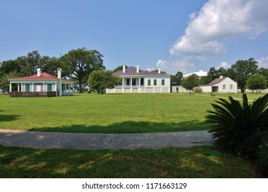 BILOXI, MS -24 AUG 2018- View of the landmark Jefferson Davis Presidential Library and Museum and Beauvoir estate, dedicated to the Confederate President, in Biloxi, Mississippi.
