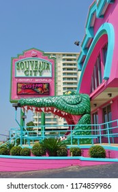 BILOXI, MS -24 AUG 2018- View of the colorful Souvenir City with a giant alligator and shark in Biloxi on the Mississippi Sound off the Gulf of Mexico in Harrison County, Mississippi.