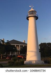 Biloxi, MS, USA October 4, 2017 The Biloxi Light rises 61 feet over the Gulf of Mexico coast in Biloxi, Mississippi