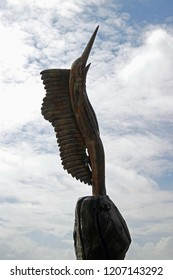 """""""Biloxi, MS / USA - October 9, 2018 : Wooden Swordfish on I 90 carved from a dead tree by Hurricane Katrina in Biloxi, MS"""""""