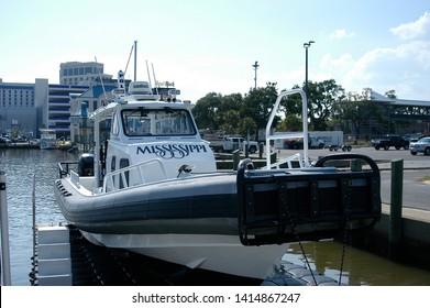 Biloxi, MS/USA June 2, 2019 Docked harbor patrol boat during the blessing of the shrimp fleet.