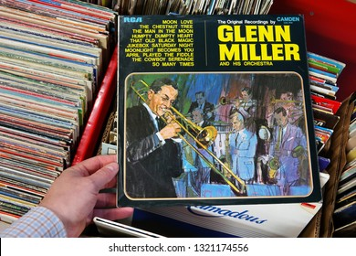 BILT, THE NETHERLANDS - APRIL 15, 2016: Album: Glenn Miller and his Orchestra, LP record of the American big-band trombonist, arranger, composer, and bandleader Glenn Miller in a second hand shop.