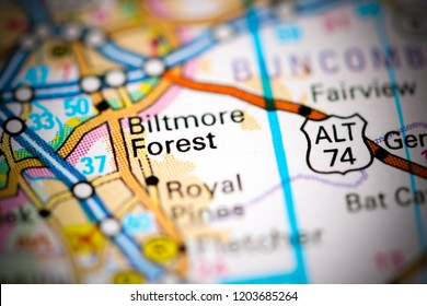 Biltmore Forest. North Carolina. USA on a map