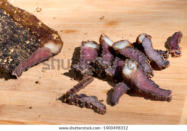 Biltong Traditional South African Jerky Made Stock Photo