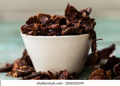 biltong in a white bowl
