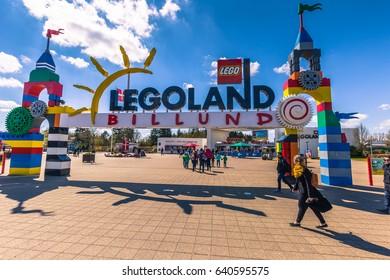 Bilund, Denmark - April 30, 2017: Entrance to Legoland, Bilund
