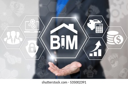 BIM building information modeling business industrial development physical web concept. Build, house, real estate, construction, architecture technology. BIM icon with a pencil and a roof