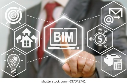 BIM Building Information Modeling Business Industrial Agile Development physical web concept. Build, house, real estate, construction, architecture. Man touched bim laptop icon on virtual screen.