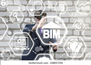 BIM Building Information Modeling Business Industrial Flexible Development Web Computing Concept. Build, design, real estate, construction, architecture. Man offers bim house icon on virtual screen.