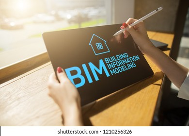 BIM - Building information modeling concept on screen.