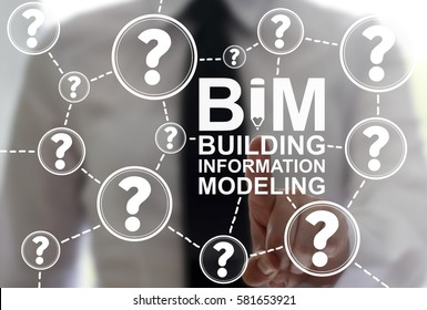 BIM building information modeling FAQ business industrial development web concept. A man holding a bim word with pencil icon. Build, real estate, construction, architecture technology