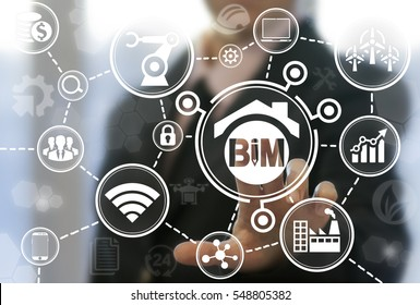 BIM building information modeling industrial business development physical web concept. Build, factory, real estate, construction, architecture engineering manufacturing api development iot technology