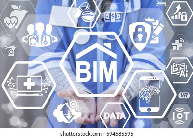 BIM building information modeling medicine concept. Health care smart IT integration architecture. Design and construction of the hospital. Medical model construct