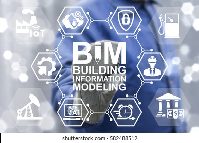 BIM building information modeling oil industrial business development computing concept. Build, factory, real estate, construction, architecture engineering manufacturing development iot technology