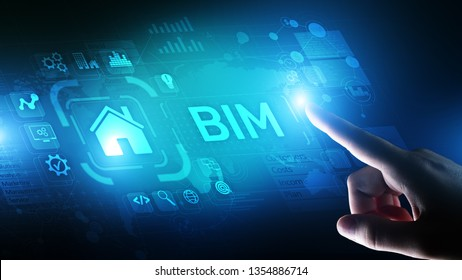 BIM Building Information Modeling Technology concept on virtual screen.