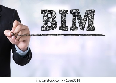 BIM Businessman drawing Landing Page on blurred abstract background