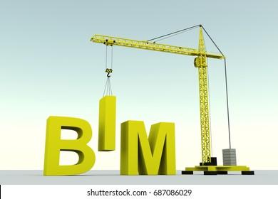BIM concept building crane white background 3d illustration