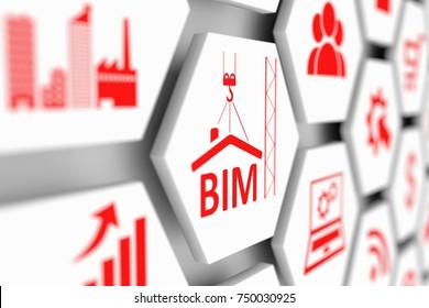 BIM concept cell blurred background 3d illustration