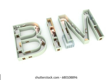 BIM is the interior on the white background 3D illustration