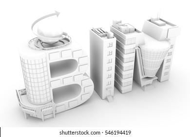 BIM in the shopping center over white background 3D illustration