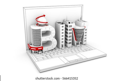 BIM as text in the notebook 3D illustration