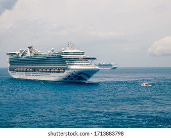 Bimini, Bahamas - 25 April 2020: meeting Princess Cruises cruise ships in open sea to exchange provision and transferring crew