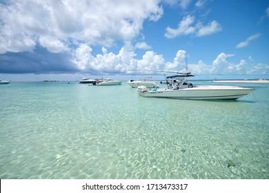 Bimini, Bahamas - Jan 2017: Several boats anchored off Gun Cay in shallow tropical waters.
