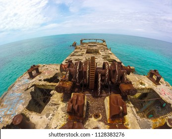 BIMINI/BAHAMAS – MAY 19, 2016: The SS Sapona shipwreck stands out the Bahamas sea as an attraction for the tourist and scuba divers, near the Bimini islands.