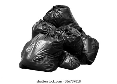 bin bag garbage, Bin,Trash, Garbage, Rubbish, Plastic Bags pile isolated on background white