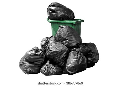 bin bag garbage green, Bin,Trash, Garbage, Rubbish, Plastic Bags pile isolated on background white, 3R