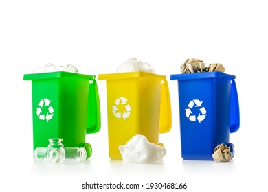 Bin icon. Container for disposal garbage waste and save environment. Yellow, green, blue dustbin for recycle plastic, paper and glass can trash isolated on white background