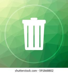 Bin icon. Bin website button on green low poly background.