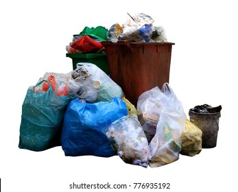 Bin, trash bag plastic waste, Garbage bag pile, Pollution from waste plastic, pile of bin trash junk dirty and garbage bag many isolated on white background