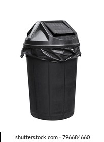 bin for waste, black plastic trash, garbage, junk bin for recycle