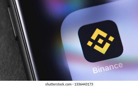 Binance icon app on the screen smartphone. Binance - one of the largest cryptocurrency exchange on the market. Moscow, Russia - March 12, 2019