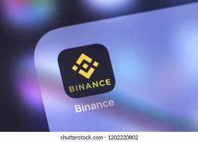 Binance icon on the screen smartphone. Binance - cryptocurrency exchange. Moscow, Russia - October 14, 2018