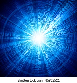 Binary beams. Abstract blue background. Raster illustration.