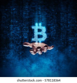 Binary bitcoin hand / 3D illustration glowing bitcoin symbol formed by binary digits floating above open hand