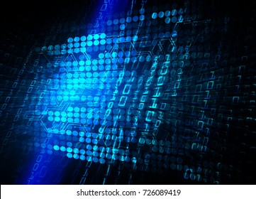 binary circuit board future technology, blue cyber security concept background, abstract hi speed digital internet.motion move blur. pixel