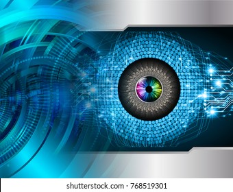 binary circuit board future technology, blue Eye circle cyber security concept background, abstract hi speed digital internet.motion move blur. pixel