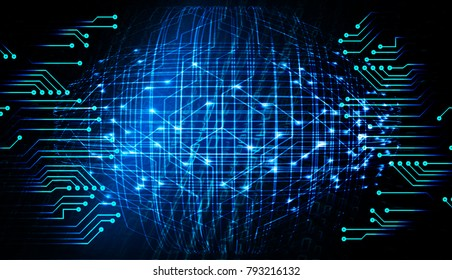binary circuit board future technology, blue cyber security concept background, abstract hi speed digital internet.motion move blur. world map vector