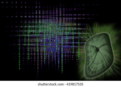 Binary clock: Time abstract with matrix style colors & letters.